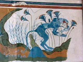 Knossos - blue monkey with lillies